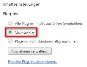 Click2Play in den Einstellungen von Google Chrome aktivieren