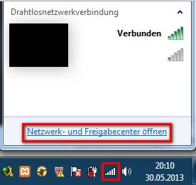 Netzwerkverbindungen unter Windows 7 öffnen