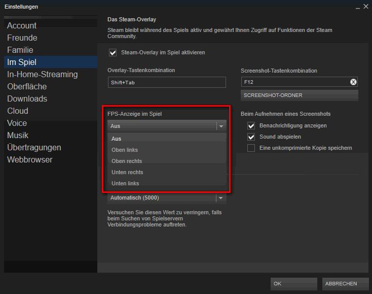 FPS-Anzeige in den Steam-Einstellungen aktivieren