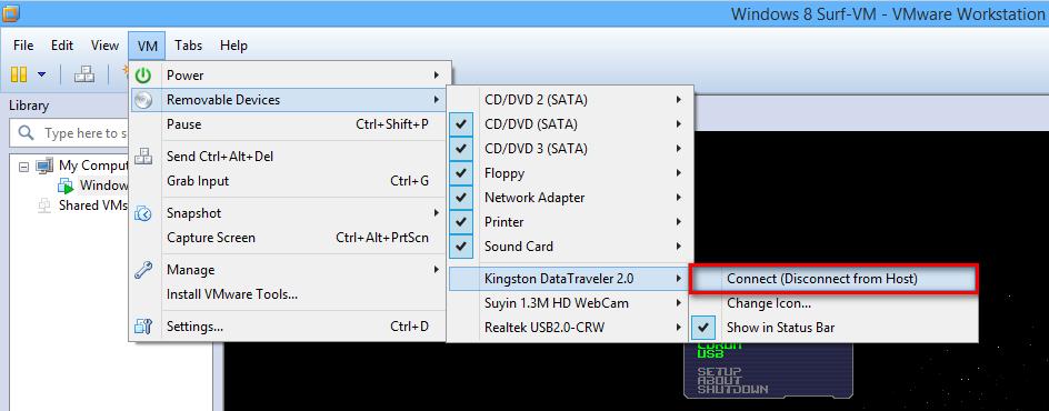 Ein USB-Stick wird einer VMWare-VM zugeordnet