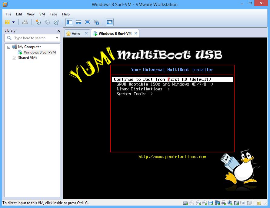 VMWare bootet mithilfe von Blop von einem USB-Stick