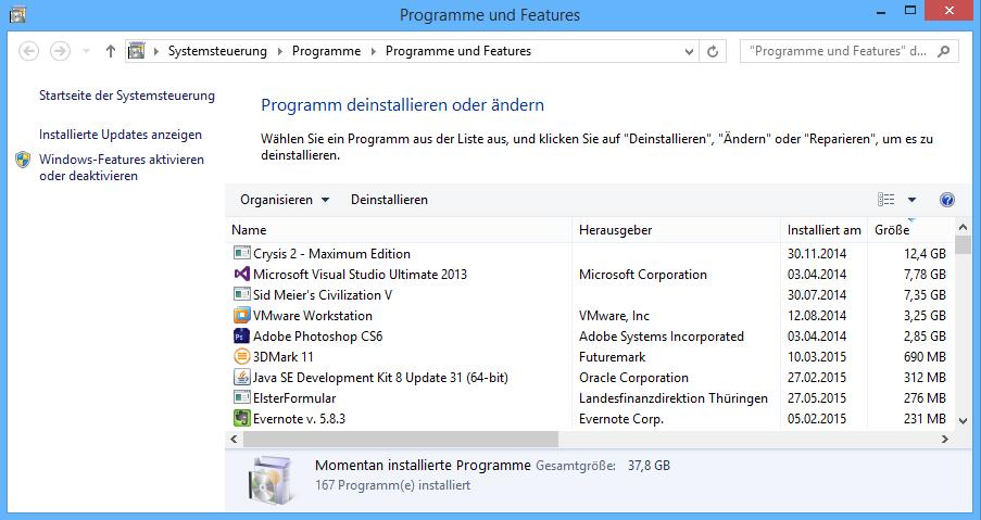 Windows listet alle installierten Programme auf