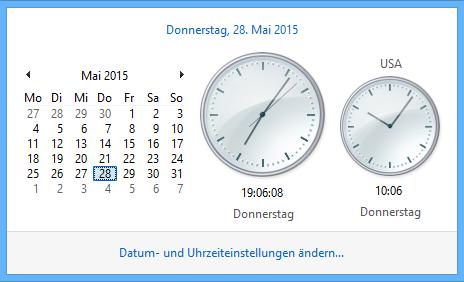 Windows 8.1 kann mehrere Uhren mit verschiedenen Zeitzonen darstellen
