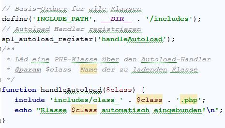 Nie wieder includes: Klassen automatisch mit PHP laden