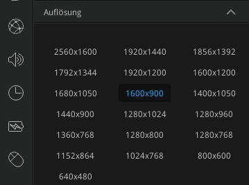 Auch standardmäßig nicht vorhandene Auflösungen lassen sich manuell hinzufügen - hier 1600x900
