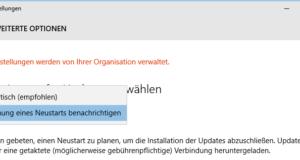 Bis Version 1607 konnte man die automatischen Update-Neustarts bändigen.