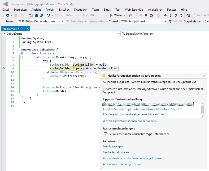 Visual Studio kann auch bei behandelten Ausnahmen zu Debugzwecken anhalten
