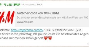 Betrüger versuchen arglose Nutzer mit angeblichen H&M Gutscheinen abzuzocken